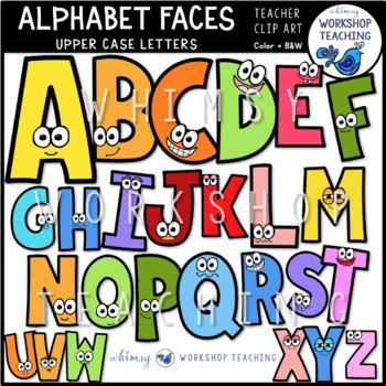 Faces clip art set. Alphabet clipart uppercase letter