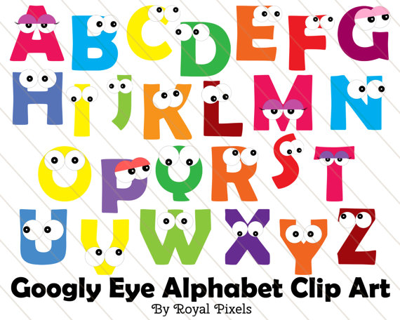 Googly eye clip art. Alphabet clipart uppercase letter