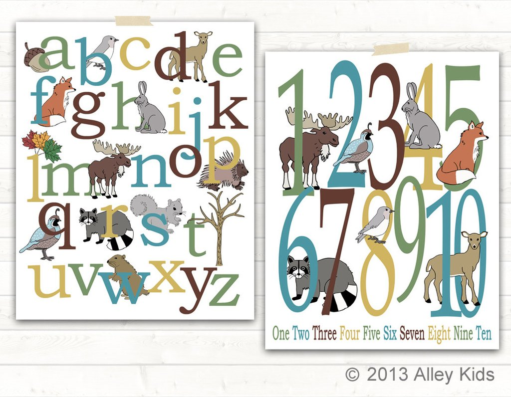 Woodland clipart alphabet. Animals and number poster