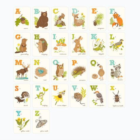 Woodland clipart alphabet. Abc set forest animals
