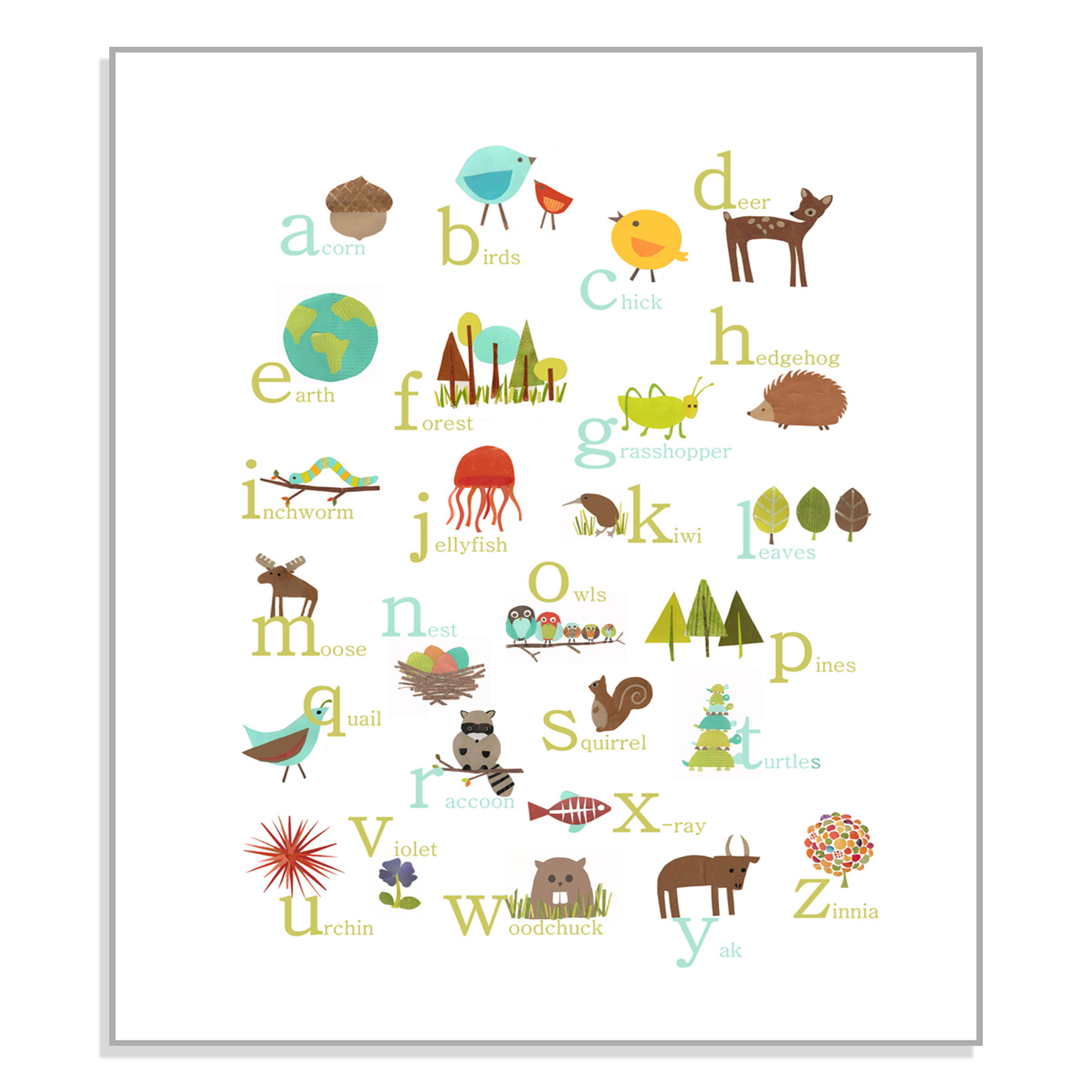 Nature themed paper print. Woodland clipart alphabet