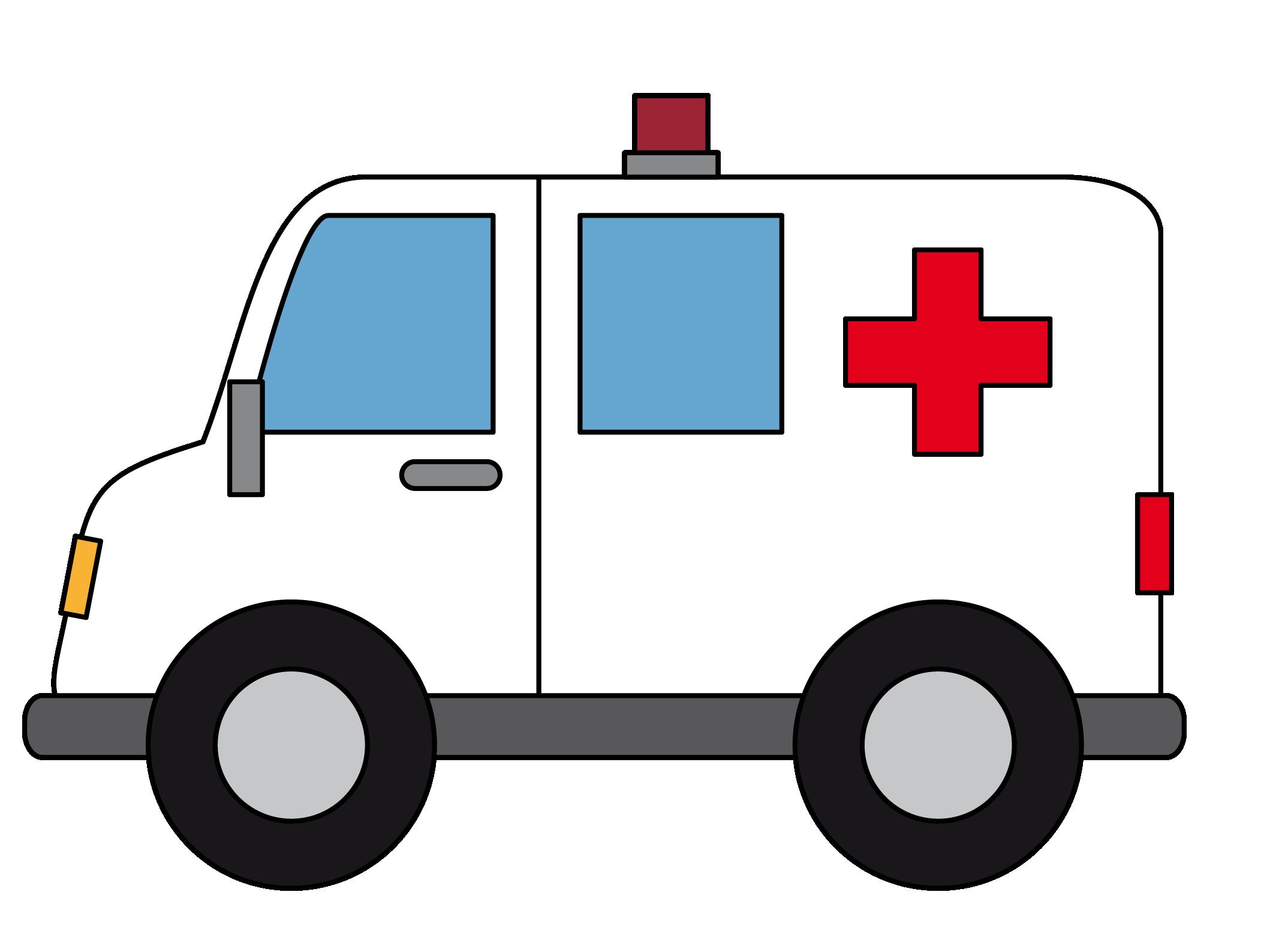 Ambulance vehicle cartoon drawing. Emergency clipart emergency phone