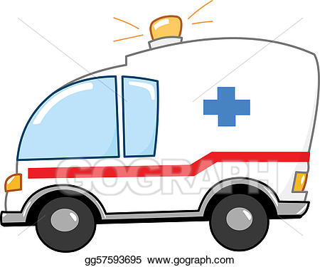 Vector art cartoon drawing. Ambulance clipart animated