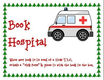 Hospital sign camping theme. Ambulance clipart book