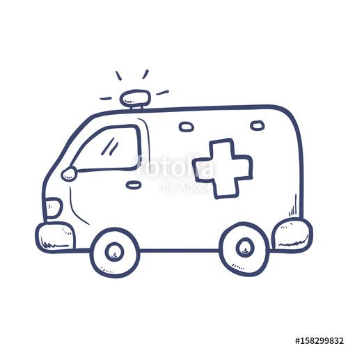 Ambulance clipart draw. Emergency icon vector illustration