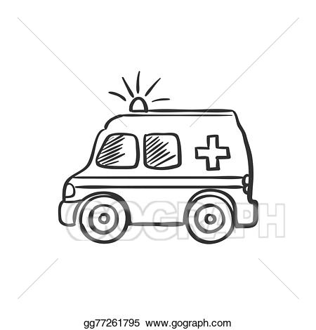 Ambulance clipart draw. Vector illustration doodle drawing