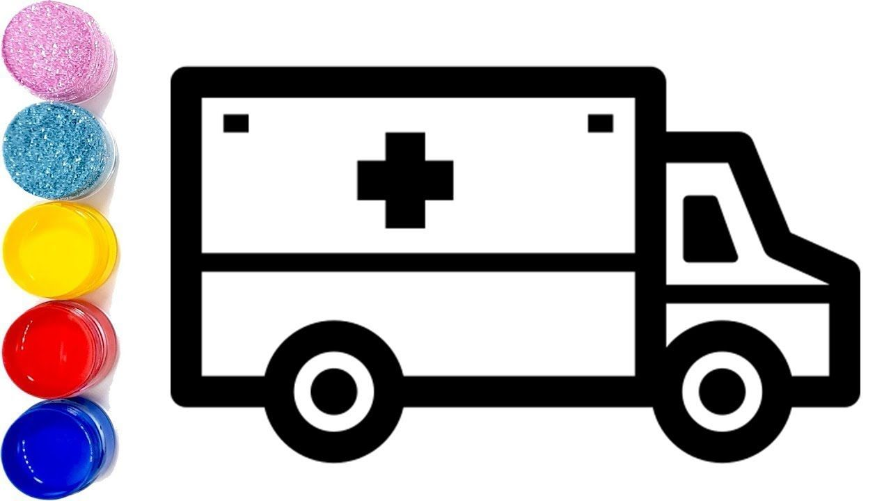 Toy coloring and drawing. Ambulance clipart draw