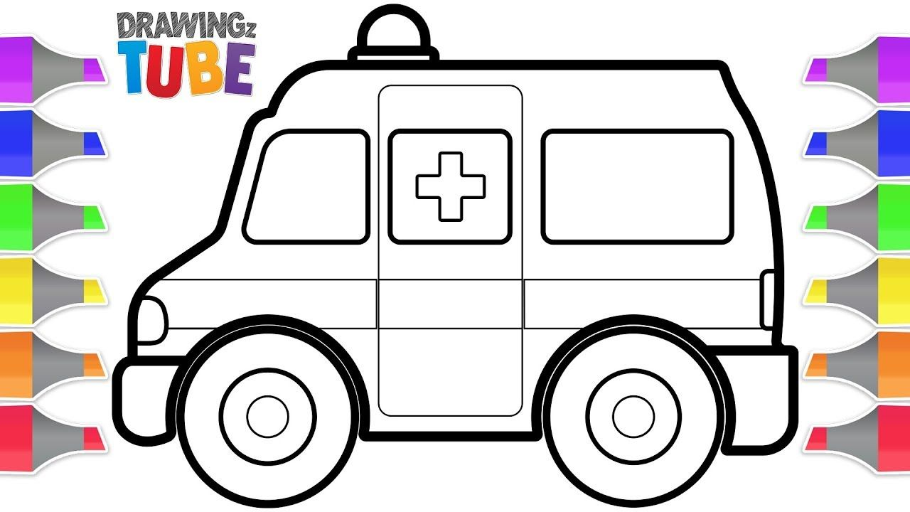 Toy drawing and coloring. Ambulance clipart draw