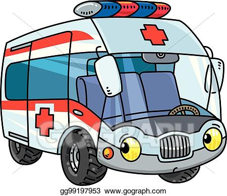 Ambulance clipart kid. Vector art funny small