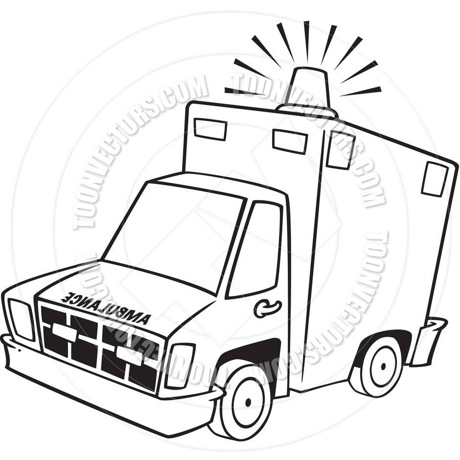 Cartoon black and white. Ambulance clipart line art