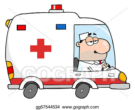 Ambulance clipart line art. Vector doctor driving drawing