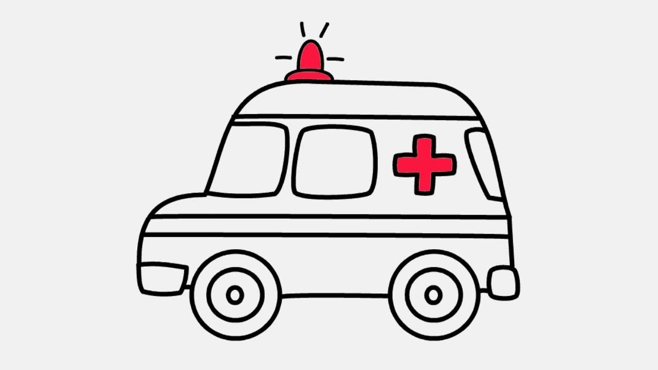Ambulance clipart line drawing. How to draw coloring