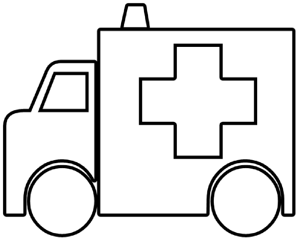 Ambulance clipart line drawing. Outline clip art at