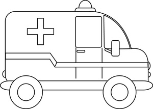 Ambulance clipart line drawing. Black and white