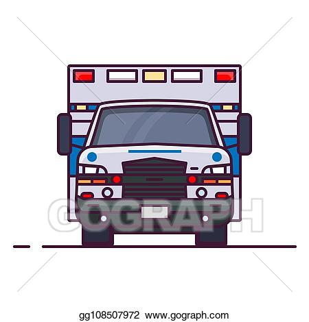 Ambulance clipart modern. Eps vector front view
