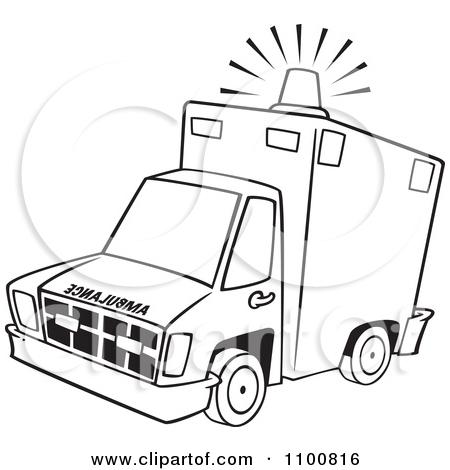 Ambulance clipart modern. Black and white