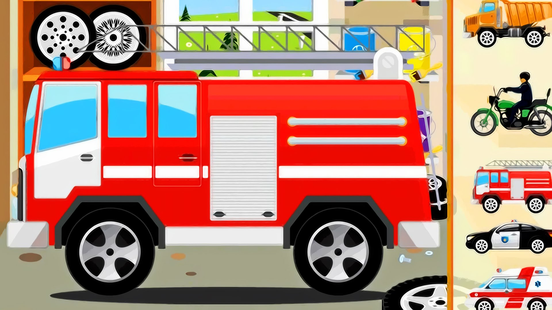 Kids cars fire police. Ambulance clipart motorcycle