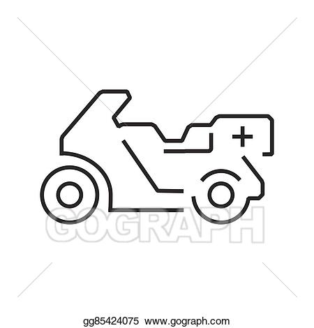 Vector stock line icon. Ambulance clipart motorcycle