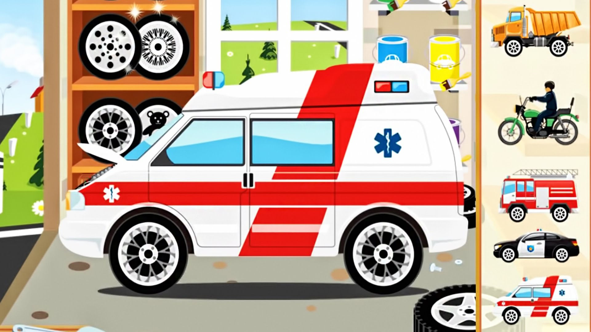 Kids cars monster truck. Ambulance clipart motorcycle