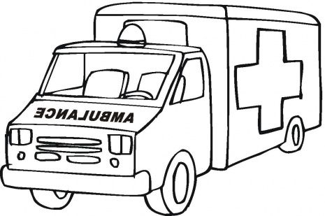 Ambulance clipart outline. Black and white car