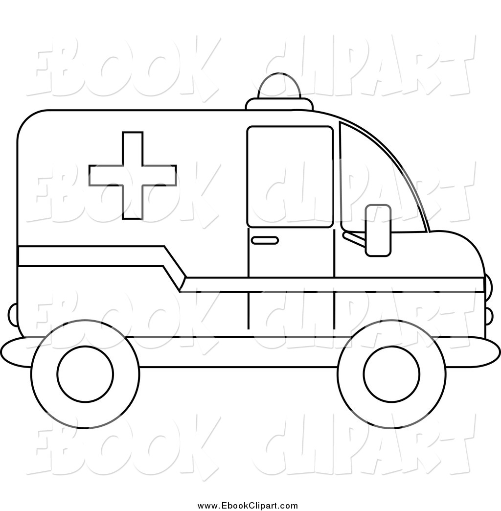 Black and white station. Ambulance clipart outline