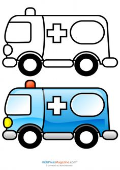 Truck black and white. Ambulance clipart printable