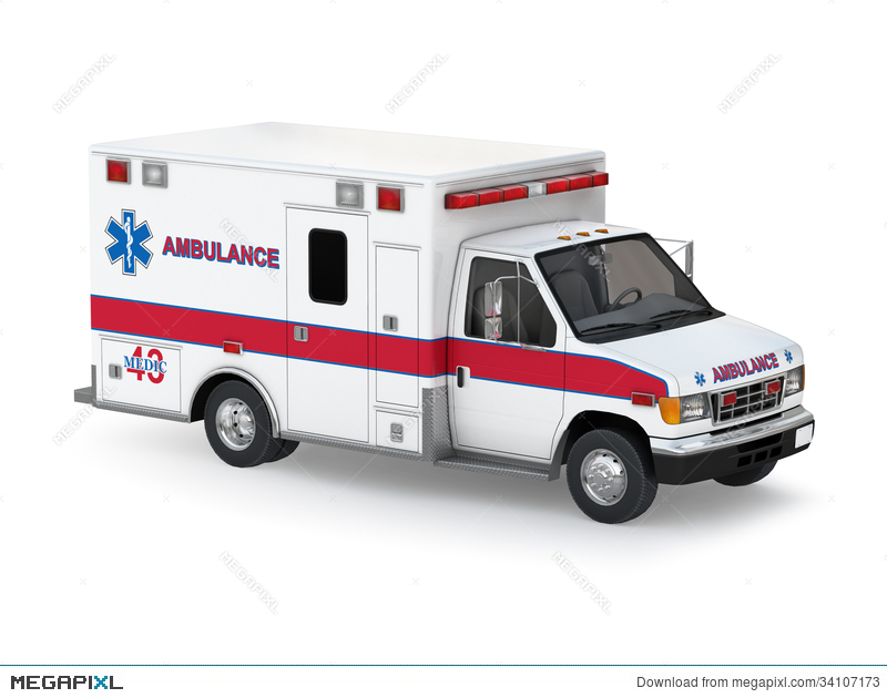 Ambulance clipart side view. Car on white background