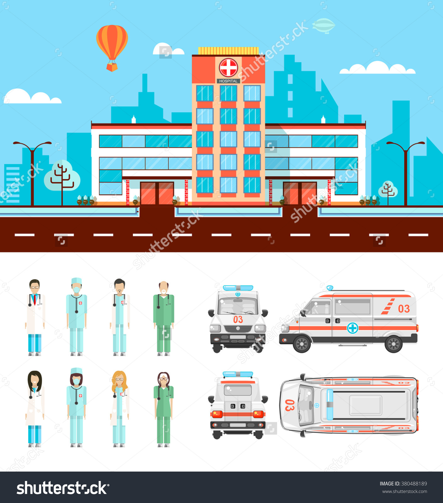 Isolated explore pictures set. Ambulance clipart side view