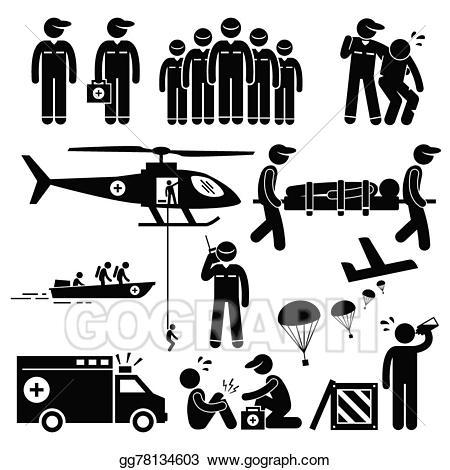 Vector art emergency rescue. Ambulance clipart stick figure