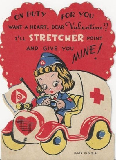 Ems valentines e m. Ambulance clipart vintage