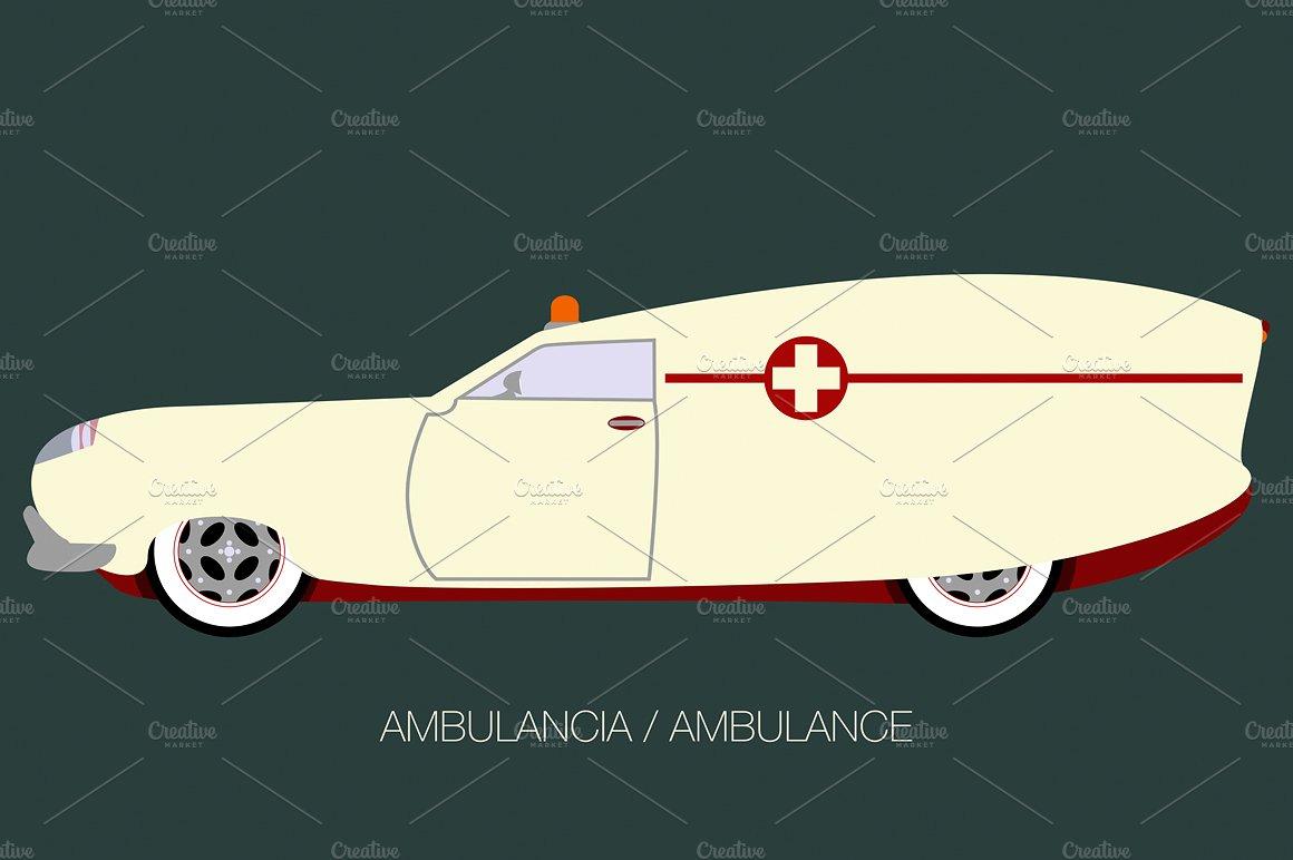 Illustrations creative market . Ambulance clipart vintage