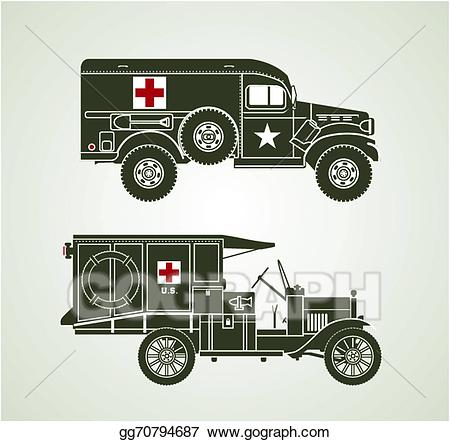 Vector illustration military ambulances. Ambulance clipart vintage