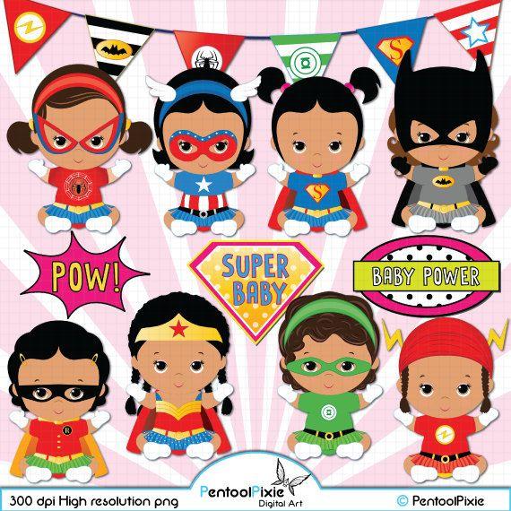 African american superhero girl. America clipart baby