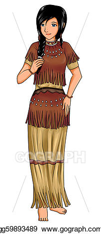 America clipart female. Stock illustration indian traditional