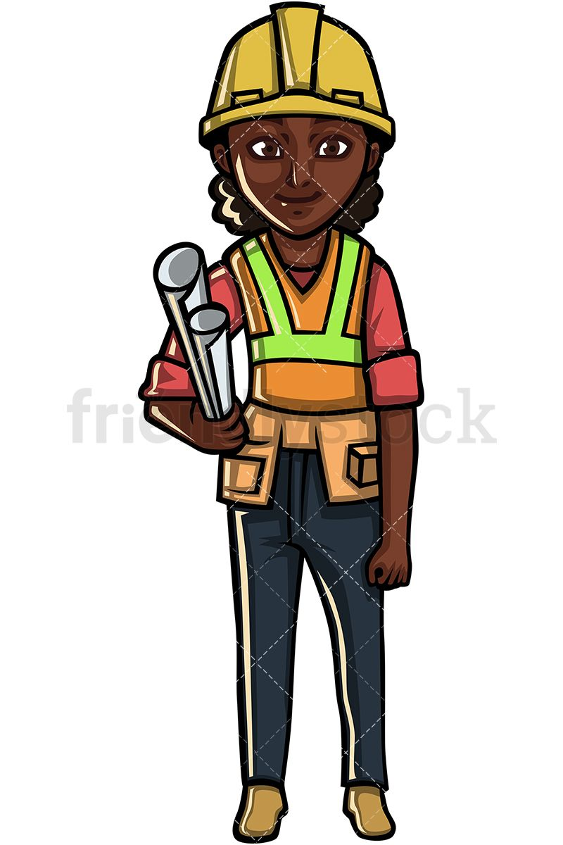 Black construction worker girls. America clipart female