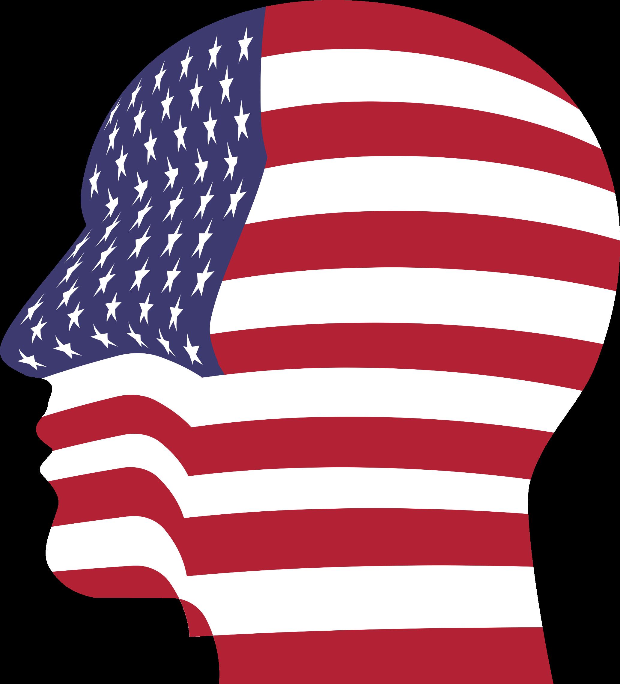 America clipart head. Man flag big image