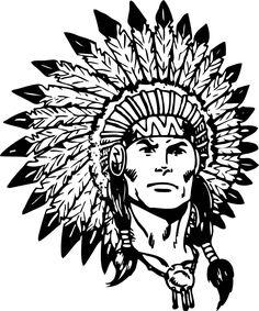 Blue indian chief logo. America clipart head