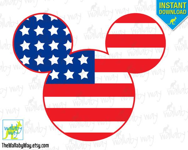 Patriotic mickey american flag. America clipart head