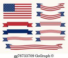 America clipart ribbon. Vector illustration patriotic ribbons