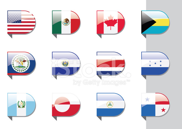 Flags north and central. America clipart ribbon
