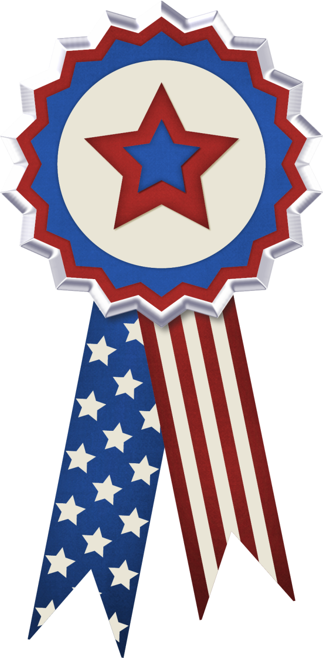 Usa flag ribbon decor. July clipart decoration