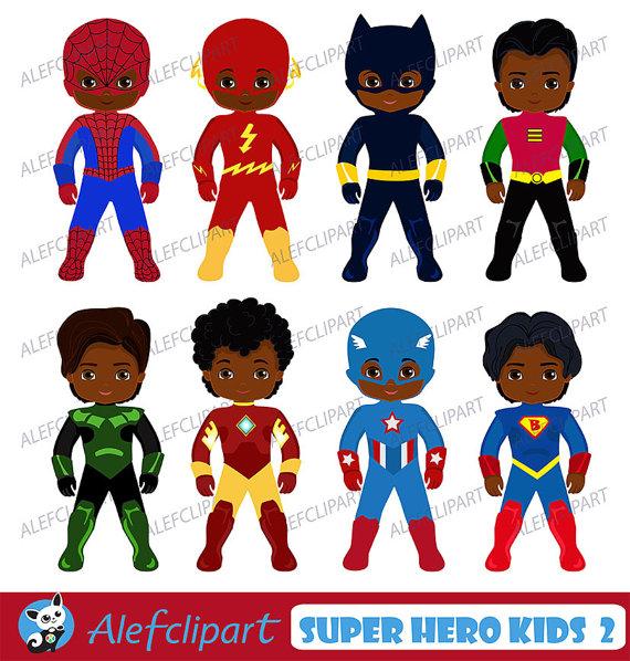 America clipart superhero. African american kids by