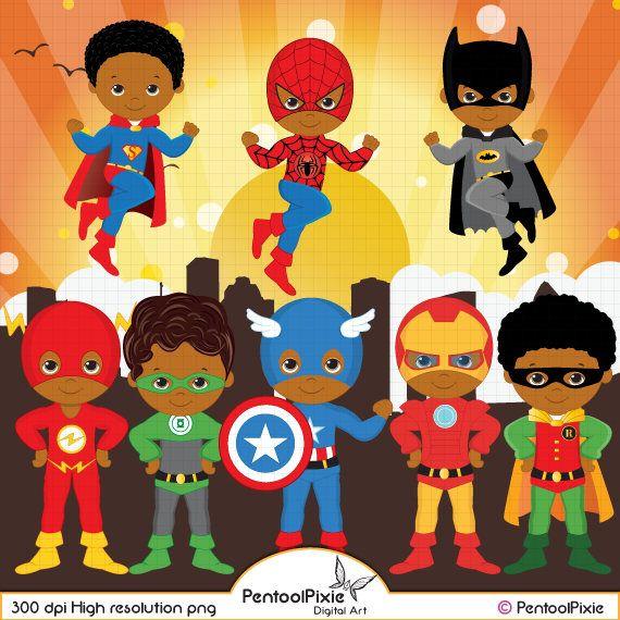 America clipart superhero. African american super hero