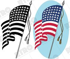 A patriotic graphic banner. America clipart vintage