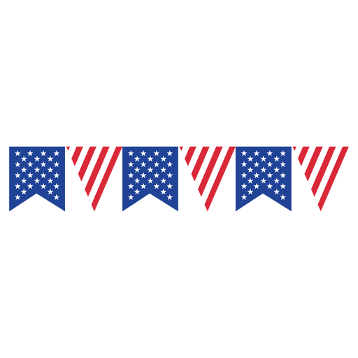 Ribbon triangle usa bunting. American flag vector png