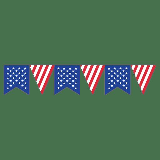 Ribbon triangle usa bunting. American flag vector png