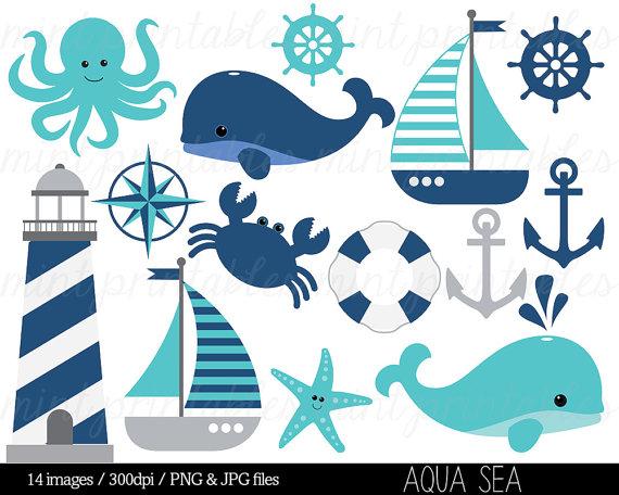 Nautical clip art whale. Anchor clipart aqua