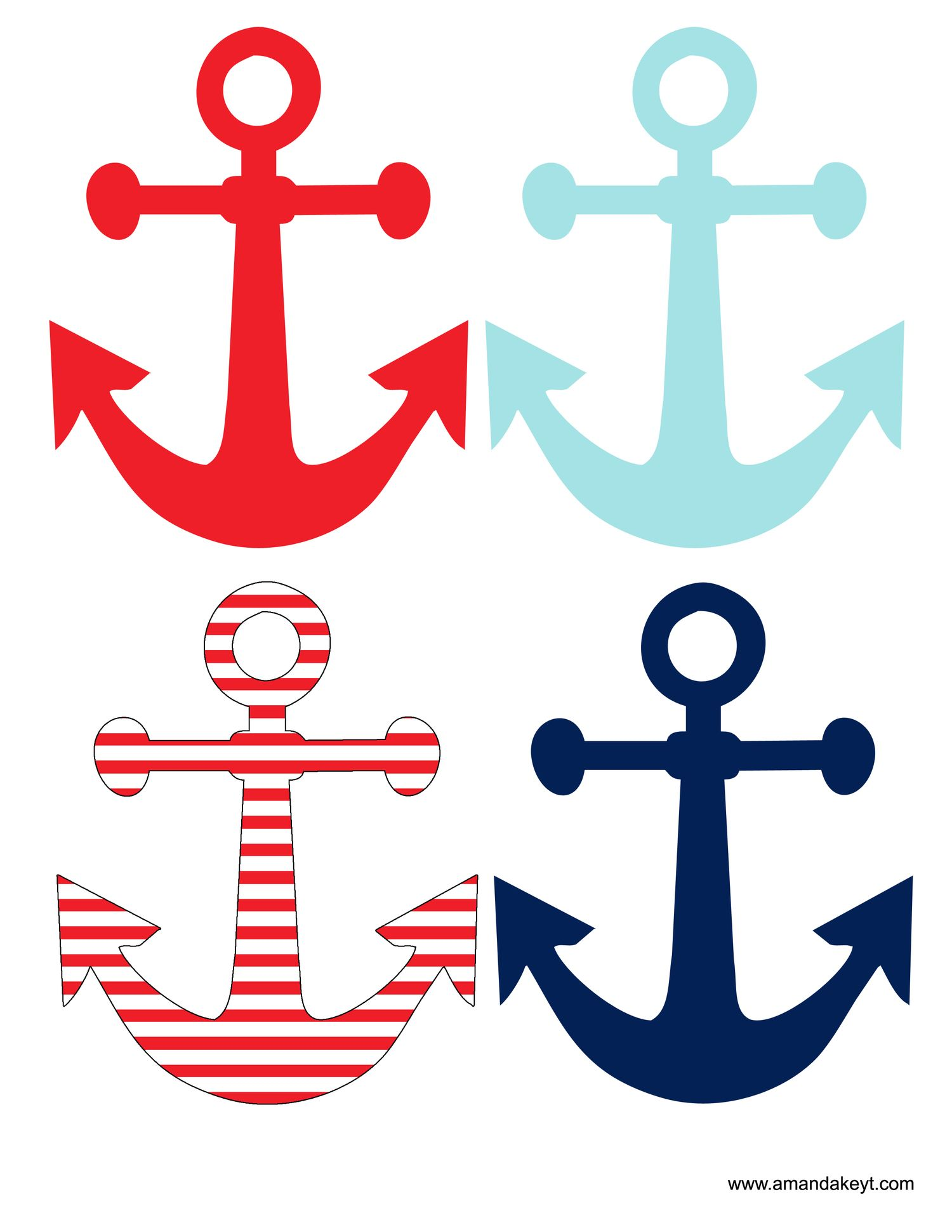 Anchor clipart birthday. Instant download nautical red