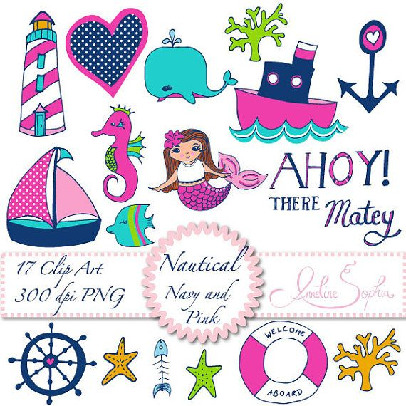 Nautical clip art digital. Anchor clipart birthday
