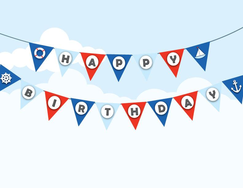 Nautical bunting sailor theme. Anchor clipart birthday